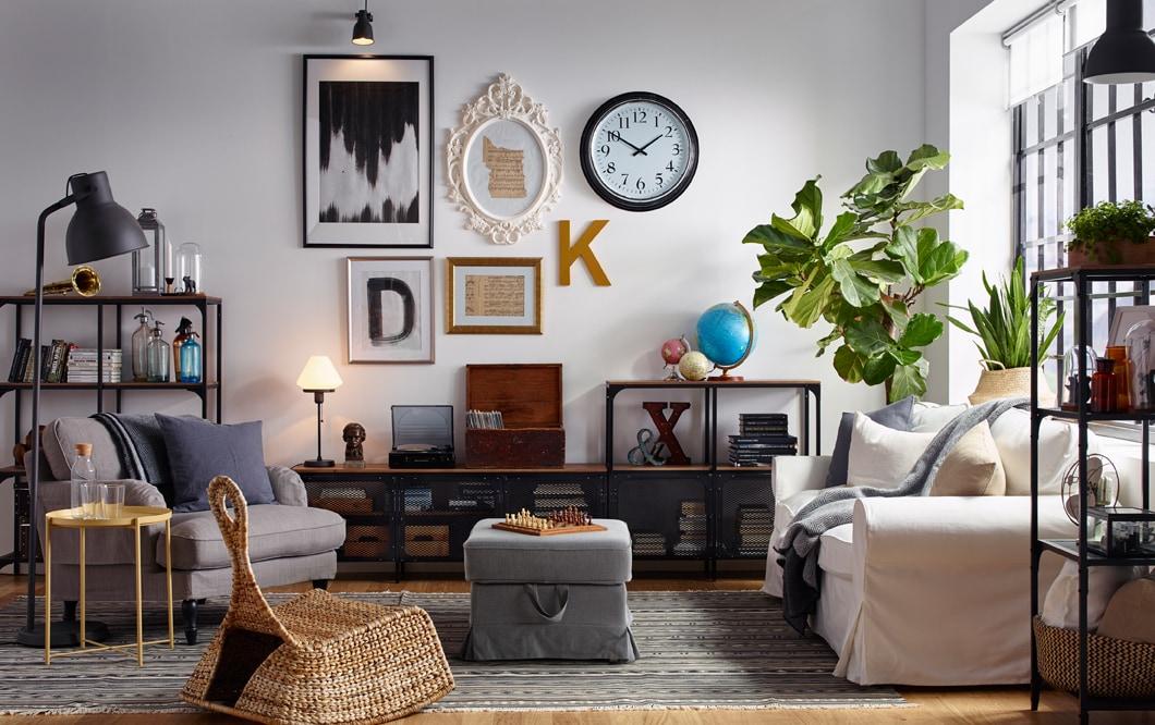 industrial living room storage