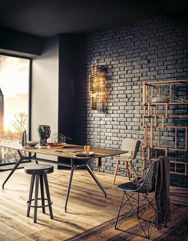 industrial living room with brick wall
