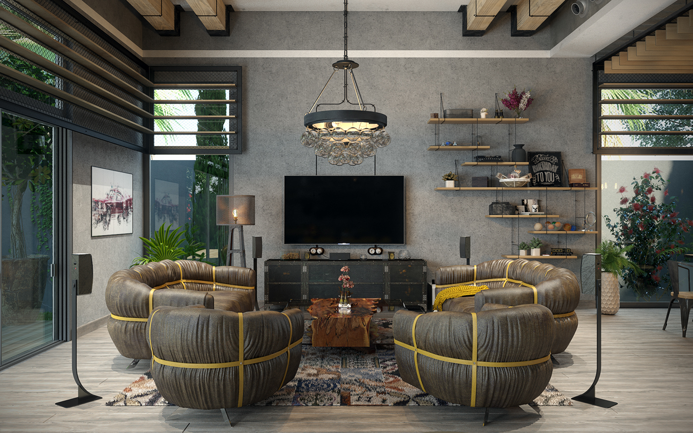 industrial wood living room