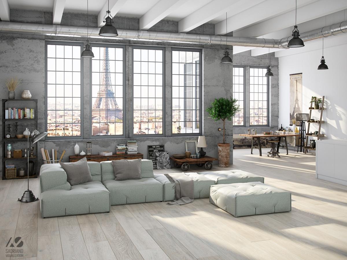 pink industrial living room