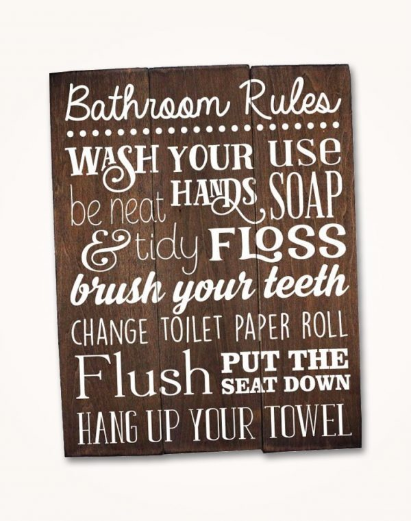 Rustic Bathroom Wall Decor Saying