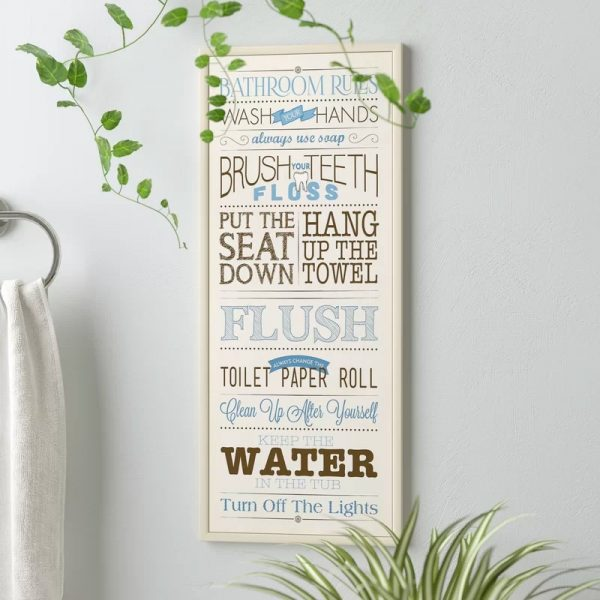 White Blue Brown Beach Bathroom Decor Plaque For Kids Bathroom