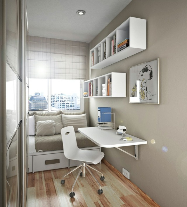 small home office in living room