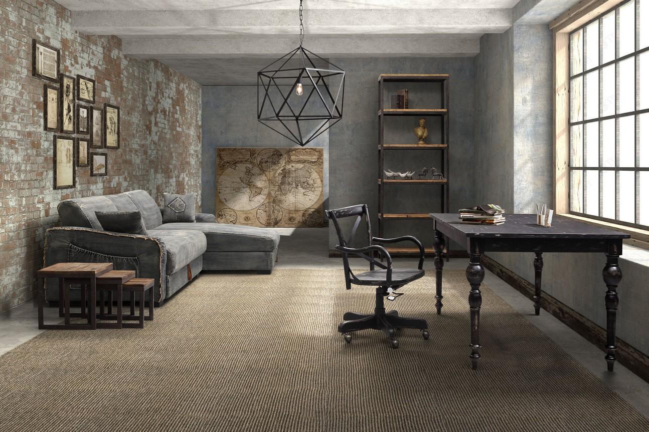 industrial living room shelves