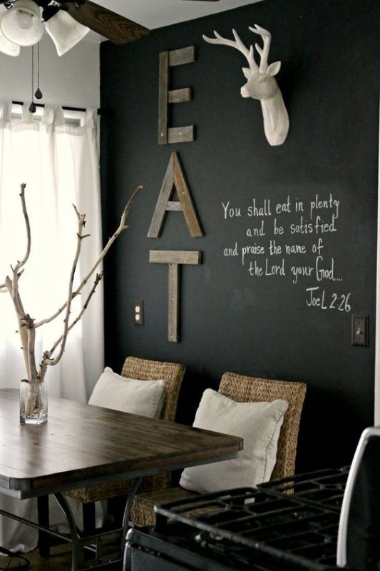 reclaimed wood EAT sign on a chalkboard wall