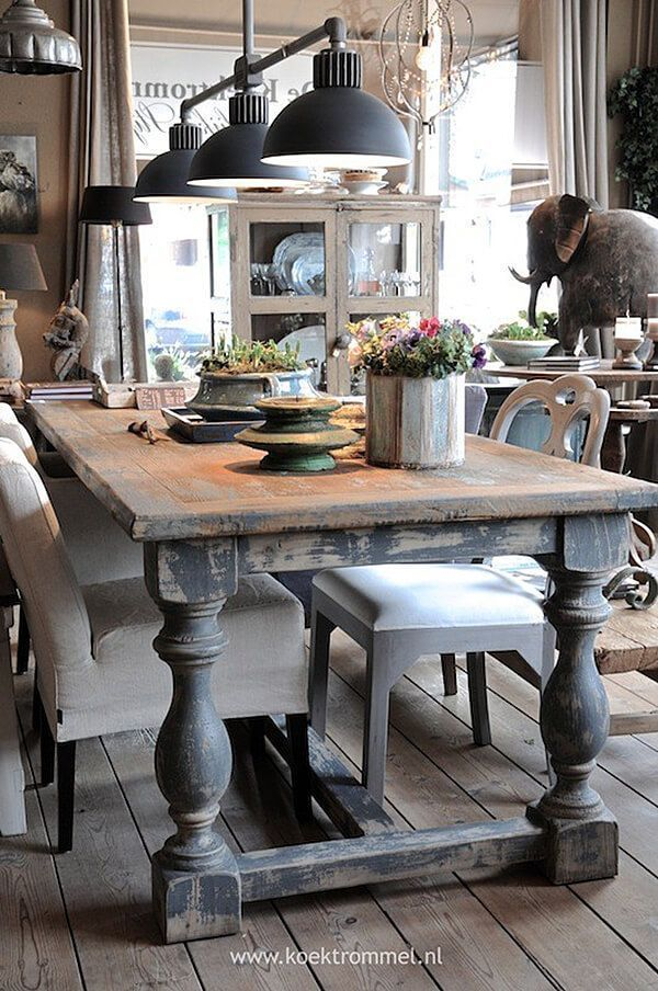 Rustic Oval Dining Room Table