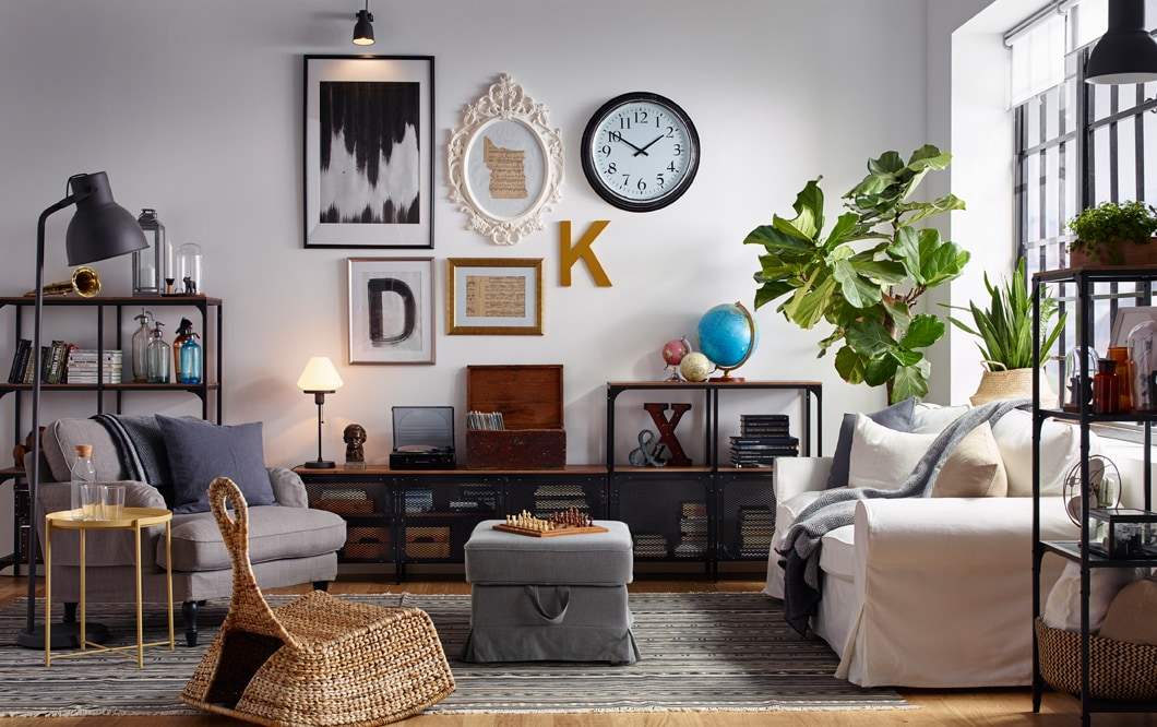 industrial living room storage