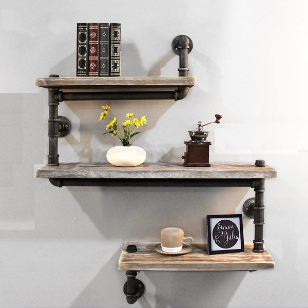 Industiral Shelving For Bathroom Made With Pipe